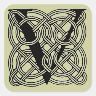 Letter V Vintage Celtic Knot Monogram Square Sticker