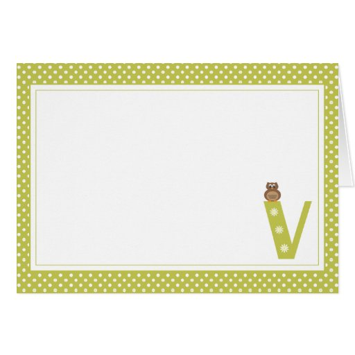 Letter V with Owl Blank Note Card