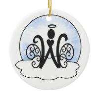 Letter W Alphabet Initial Monogram w Angel Clouds Christmas Ornament