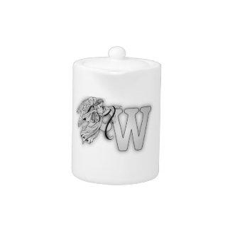 Letter W Angel Monogram Initial Teapot