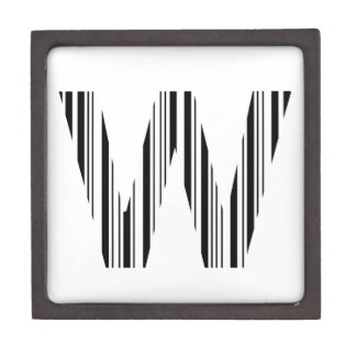 LETTER W BAR CODE First Initial Barcode Pattern Jewelry Box