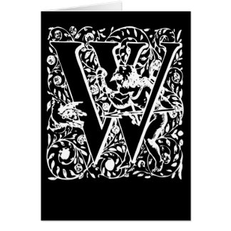 Letter W Black and White Monogram Cards