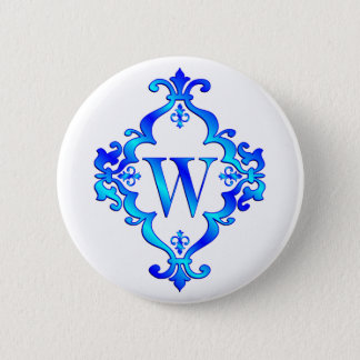 Letter W Blue Button