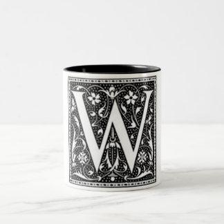 """Letter W""  ""BW"" Two-Tone Coffee Mug"