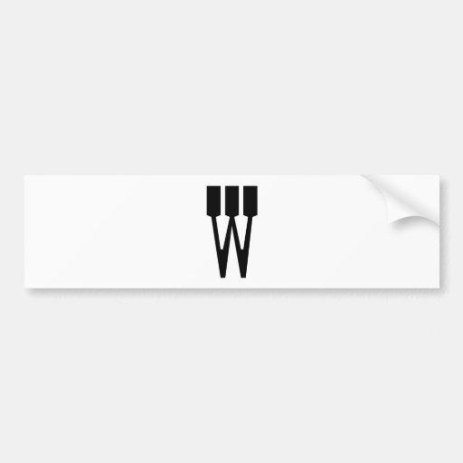 Letter W Car Bumper Sticker