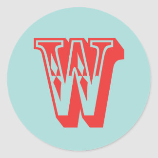 Letter W carnival style monogram initial favor Classic Round Sticker