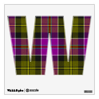 letter W emo rock rockabilly punk tartan plaid Wall Sticker