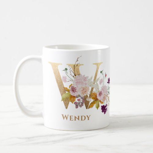 Letter W _ Gold Floral Name sister coworker friend Coffee Mug
