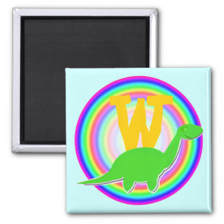 Letter W Green Dinosaur Diplodocus Fridge Magnet