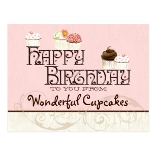 letter w happy birthday cupcake business postcard