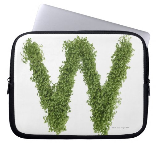 Letter 'W' in cress on white background, Laptop Computer Sleeve