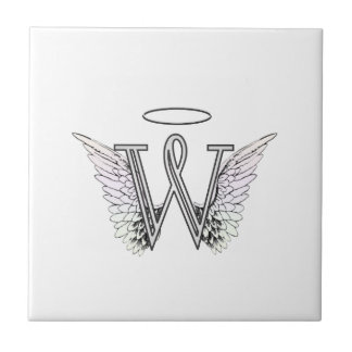 Letter W Initial Monogram with Angel Wings & Halo Tiles