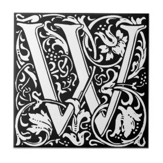 Letter W Medieval Monogram Vintage Initial Ceramic Tile