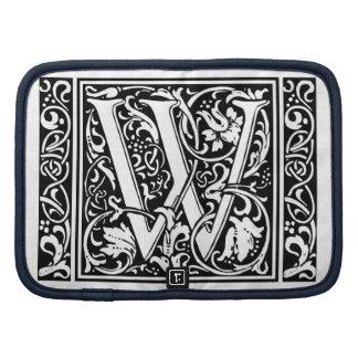 Letter W Medieval Monogram Vintage Initial Organizers