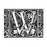 Letter W Medieval Monogram Vintage Initial Postcard