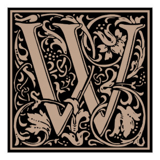 Letter W Medieval Monogram Vintage Initial Poster