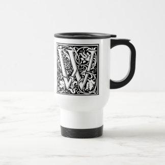 Letter W Medieval Monogram Vintage Initial Travel Mug