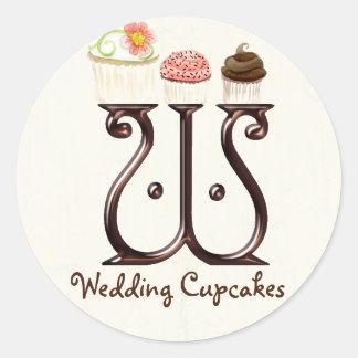 Letter W Monogram Cupcake Logo Business Stickers