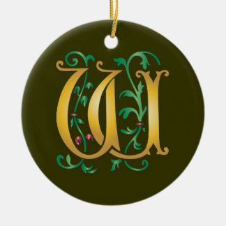Letter W Monogram Christmas Tree Ornament