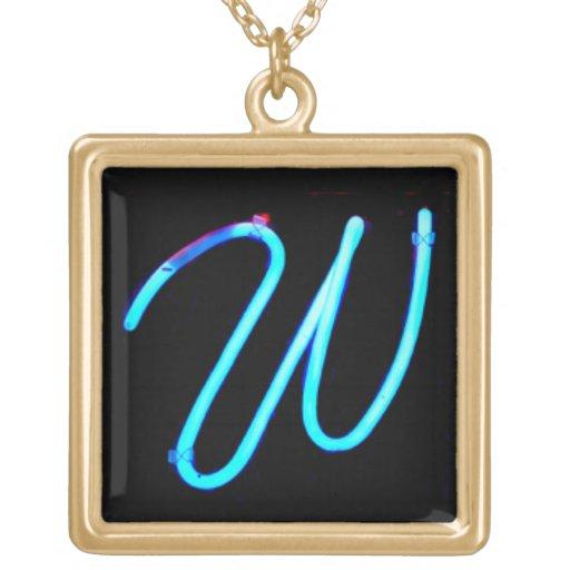 "Letter ""W"" Neon Light Monogram Square Pendant Necklace"