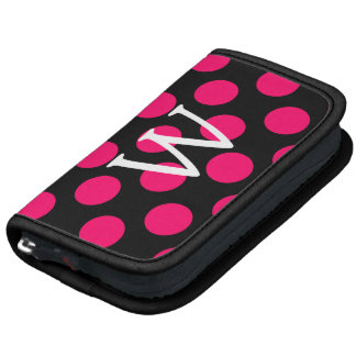 Letter W on Black Pink Polka Dots Organizers