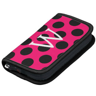 Letter W on Pink Black Polka Dots Folio Planners