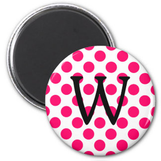 Letter W on White Pink Polka Dots 2 Inch Round Magnet