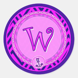 Letter 'W' Pink Nautical Chevron w/ Anchor  - Classic Round Sticker