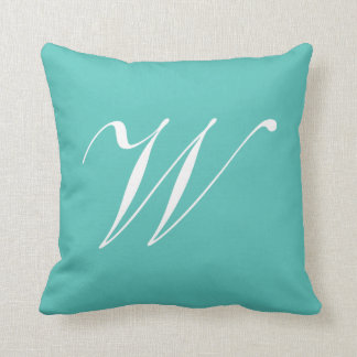 Letter W Turquoise Monogram Pillow