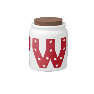 Letter W - White Stars on Dark Red Candy Dishes