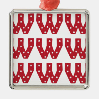Letter W - White Stars on Dark Red Metal Ornament