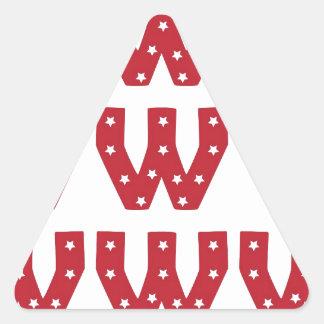 Letter W - White Stars on Dark Red Triangle Sticker