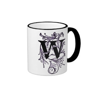 Letter 'W' Wrapped in Purple Vines - Mug