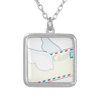 Letter with Wings Silver Plated Necklace