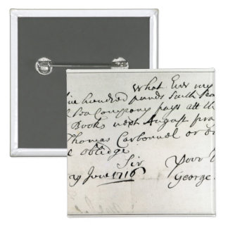Letter written by Handel, June 1716 2 Inch Square Button