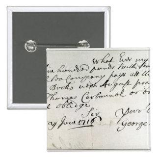 Letter written by Handel, June 1716 Button