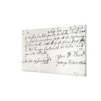 Letter written by Handel, June 1716 Canvas Print
