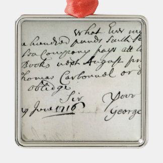 Letter written by Handel, June 1716 Metal Ornament