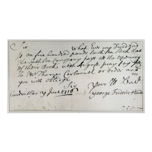 Letter written by Handel, June 1716 Poster