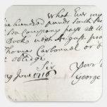 Letter written by Handel, June 1716 Square Sticker
