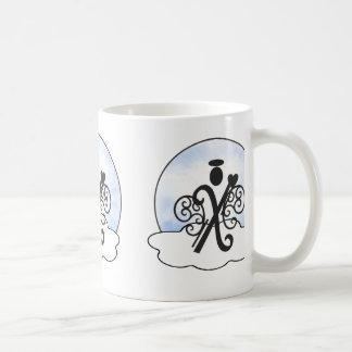 Letter X Alphabet Initial Monogram w Angel Clouds Coffee Mug