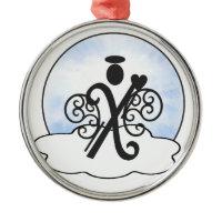 Letter X Alphabet Initial Monogram w Angel Clouds Ornaments