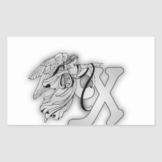 Letter X Angel Monogram Initial Rectangle Stickers