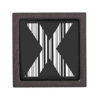 LETTER X BAR CODE First Initial Barcode Pattern Premium Keepsake Box
