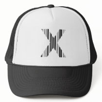 LETTER X BAR CODE First Initial Barcode Pattern Trucker Hat