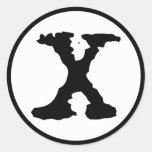 Letter X Classic Round Sticker