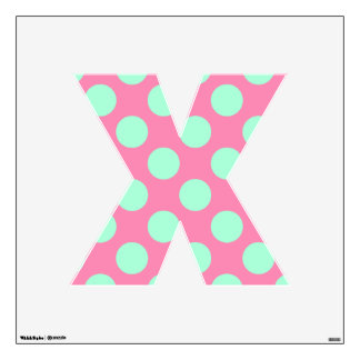 letter X cute kawaii polka dots shabby chic medium Wall Decals