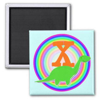 Letter X Green Dinosaur Diplodocus Fridge Magnet