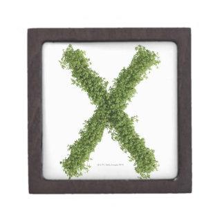 Letter 'X' in cress on white background, Premium Trinket Box