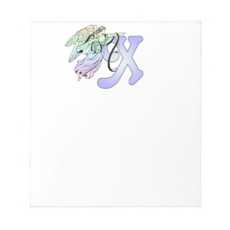 Letter X Initial Monogram Guardian Angel Alphabet Note Pad